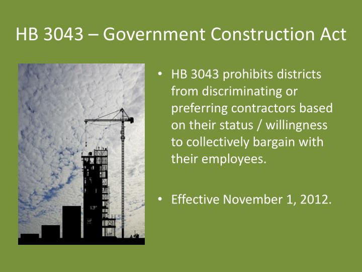 HB 3043 – Government Construction Act