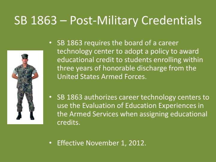SB 1863 – Post-Military Credentials