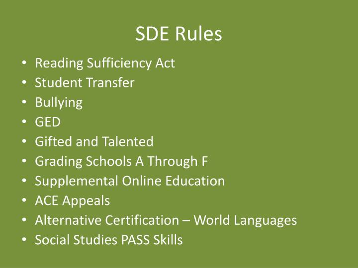 SDE Rules