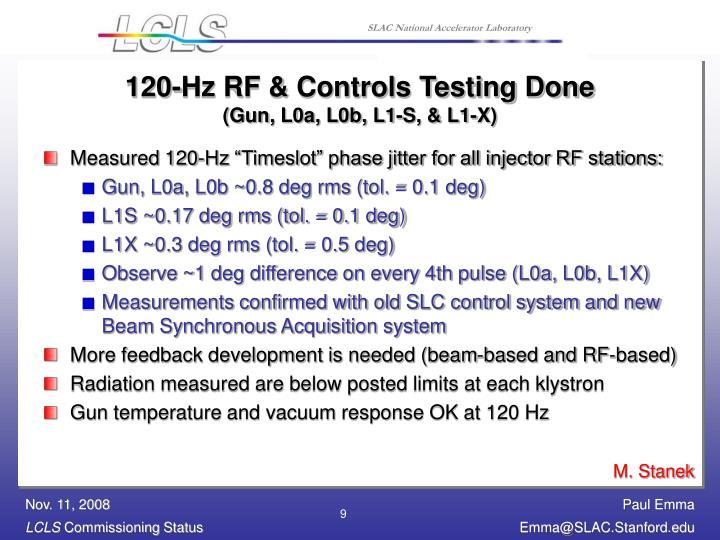 120-Hz RF & Controls Testing Done