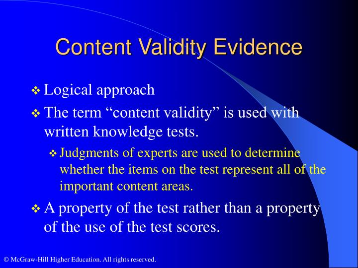 Content Validity Evidence