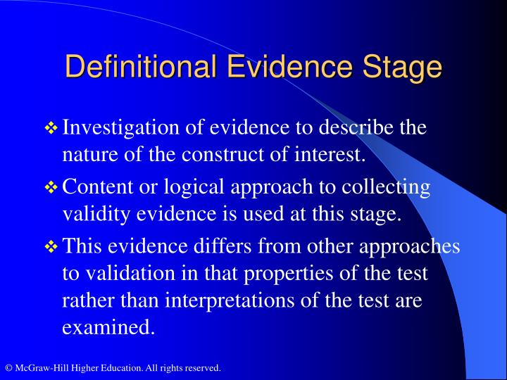 Definitional Evidence Stage