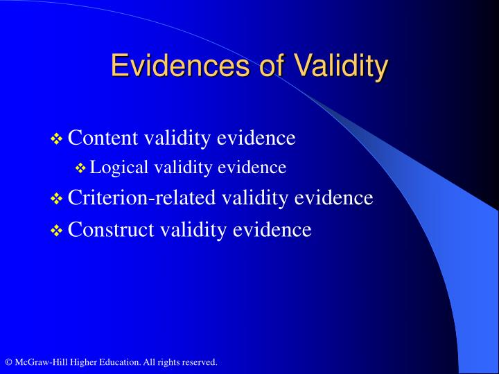 Evidences of Validity