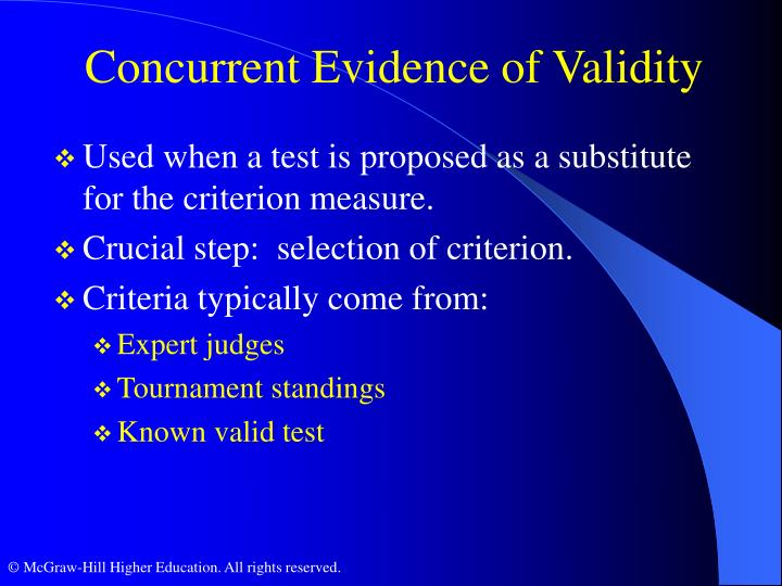 Concurrent Evidence of Validity