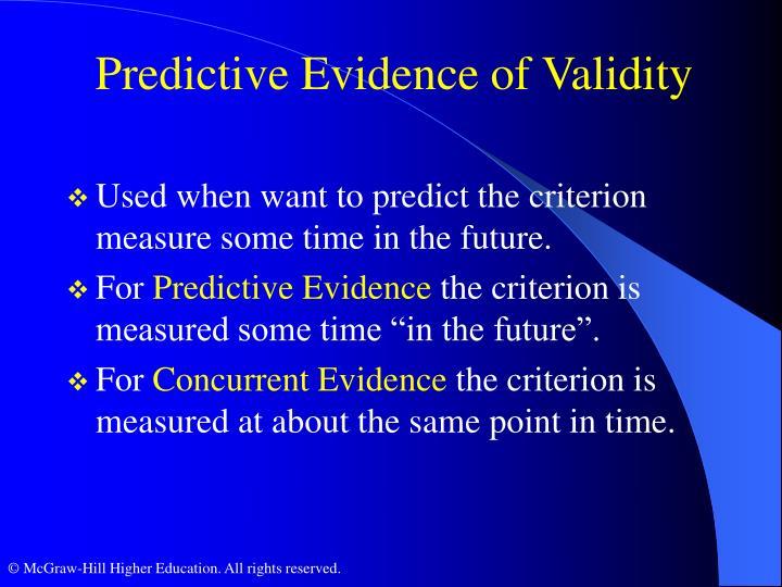 Predictive Evidence of Validity