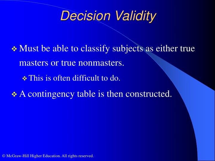 Decision Validity