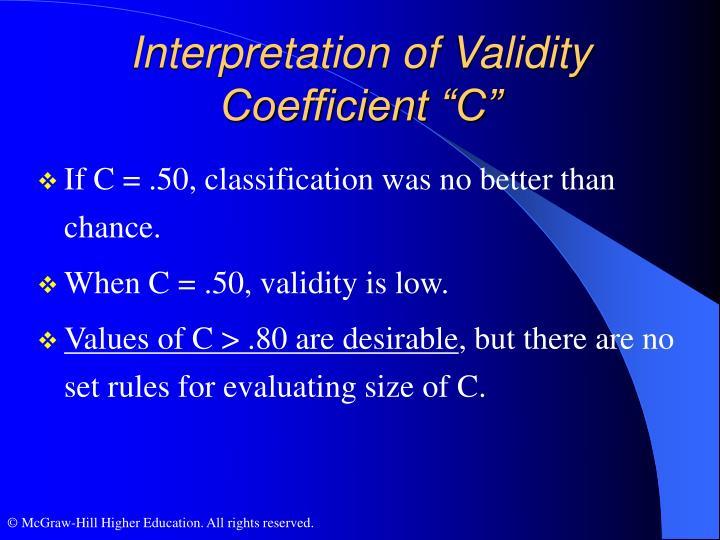 "Interpretation of Validity Coefficient ""C"""