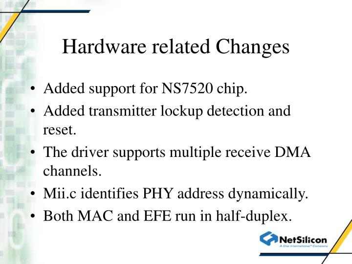 Hardware related changes