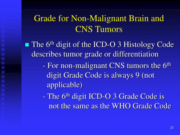 Grade for Non-Malignant Brain and CNS Tumors