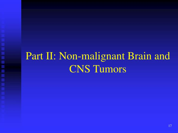 Part II: Non-malignant Brain and CNS Tumors
