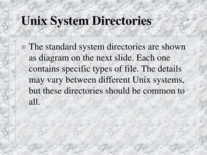 Unix System Directories
