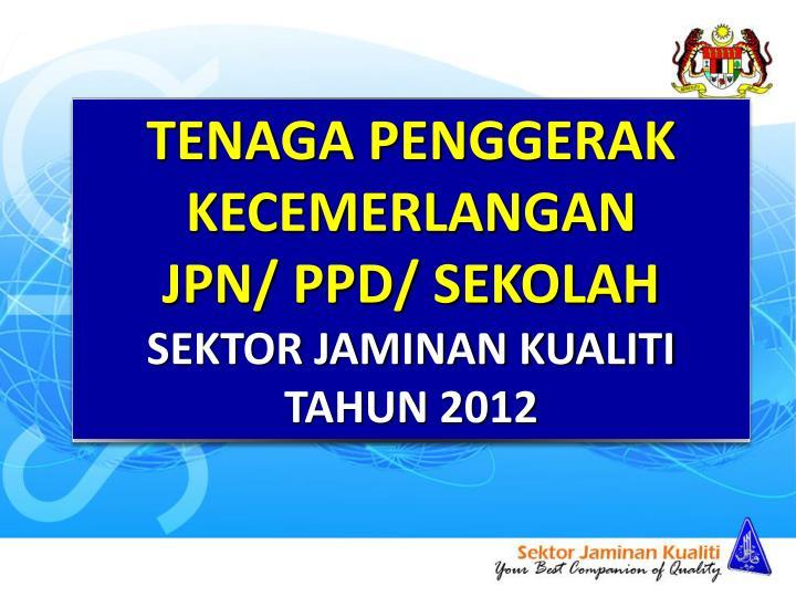 TENAGA PENGGERAK KECEMERLANGAN                       JPN/ PPD/ SEKOLAH