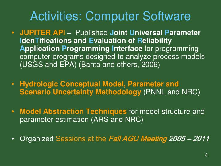 Activities: Computer Software