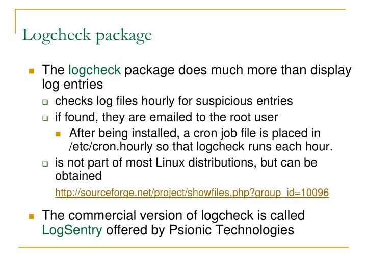 Logcheck package