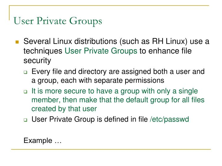 User Private Groups