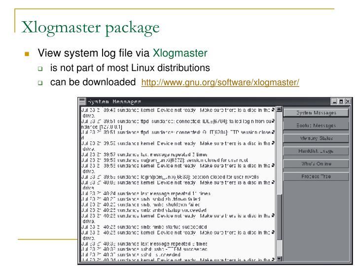 Xlogmaster package