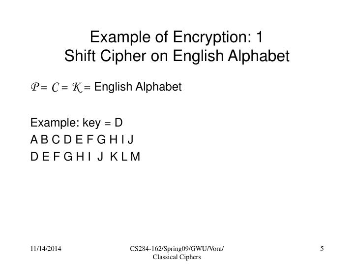 Example of Encryption: 1