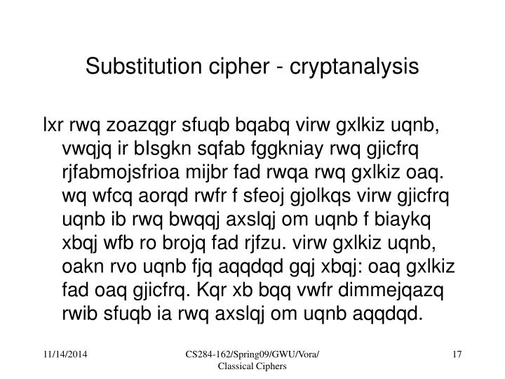 Substitution cipher - cryptanalysis