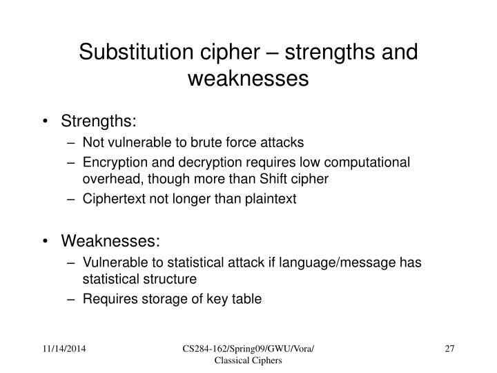 Substitution cipher – strengths and weaknesses