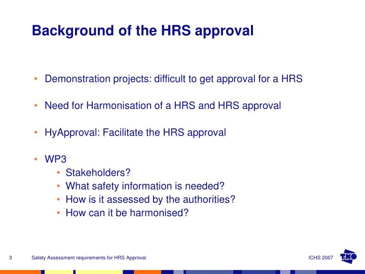 Demonstration projects: difficult to get approval for a HRS
