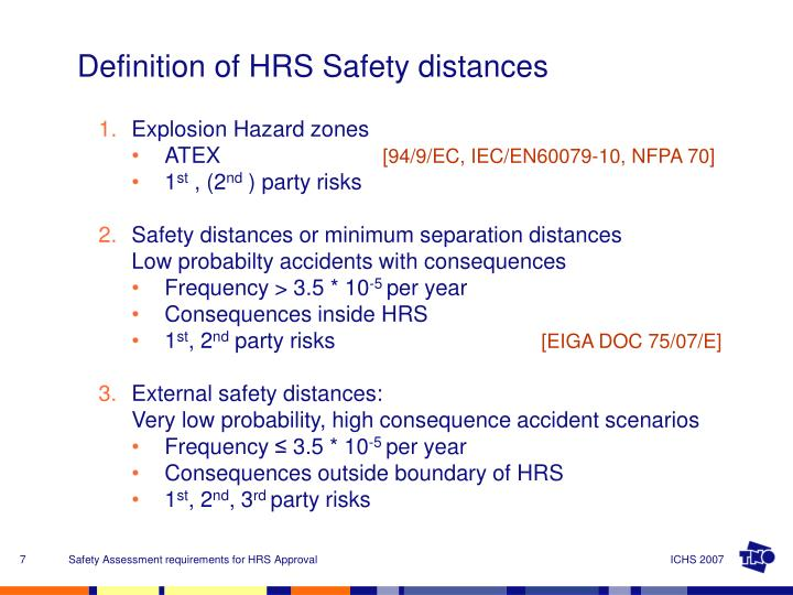 Definition of HRS Safety distances
