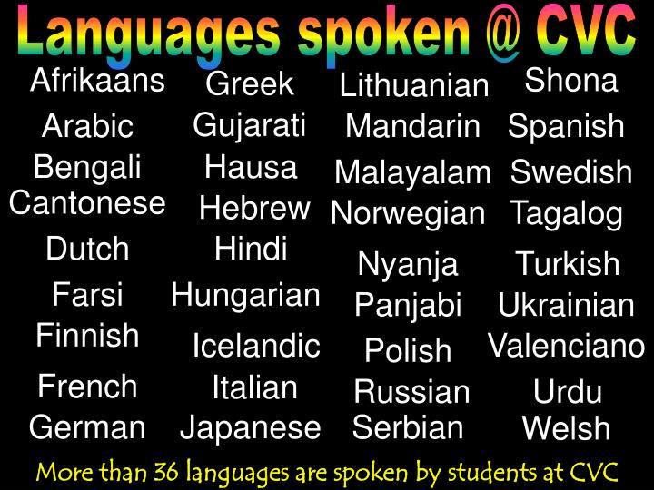 Languages spoken @ CVC