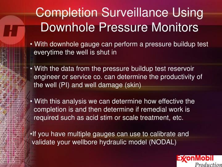 Completion Surveillance Using                             Downhole Pressure Monitors