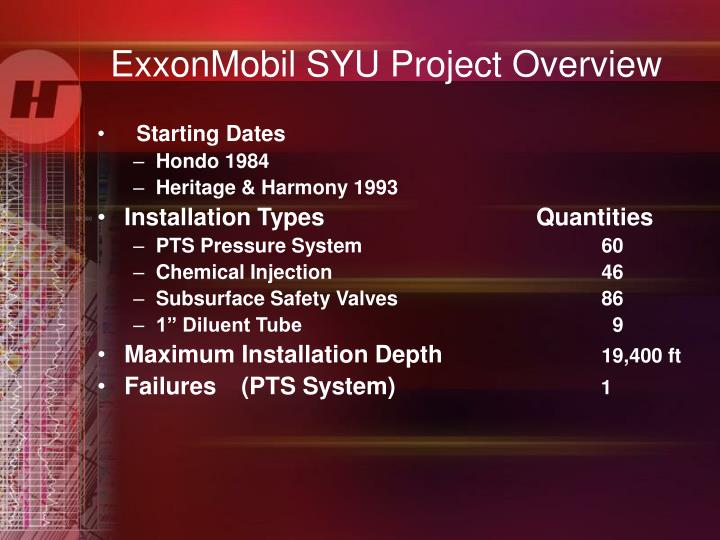 ExxonMobil SYU Project Overview
