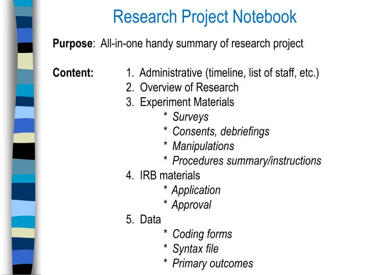 Research Project Notebook