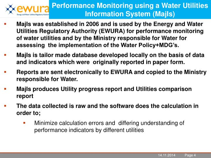 Performance Monitoring using a Water Utilities Information System (MajIs)