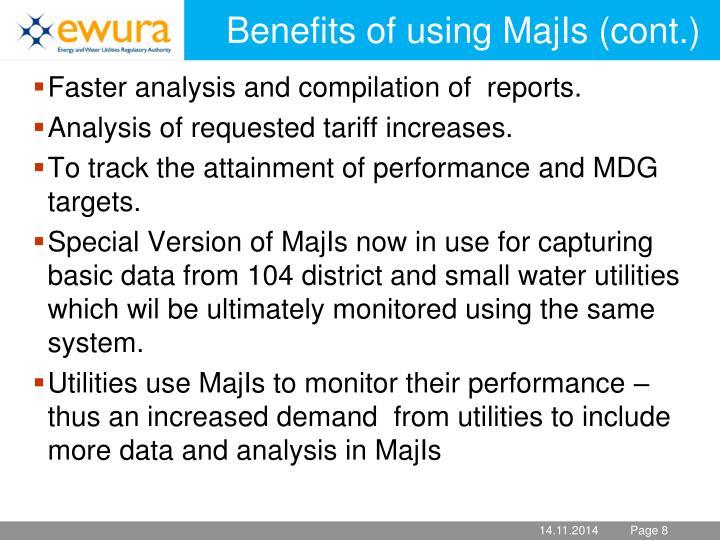 Benefits of using MajIs (cont.)