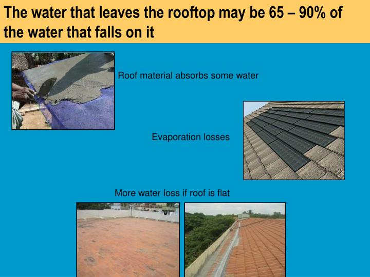 The water that leaves the rooftop may be 65 – 90% of