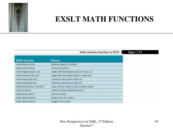 EXSLT MATH FUNCTIONS