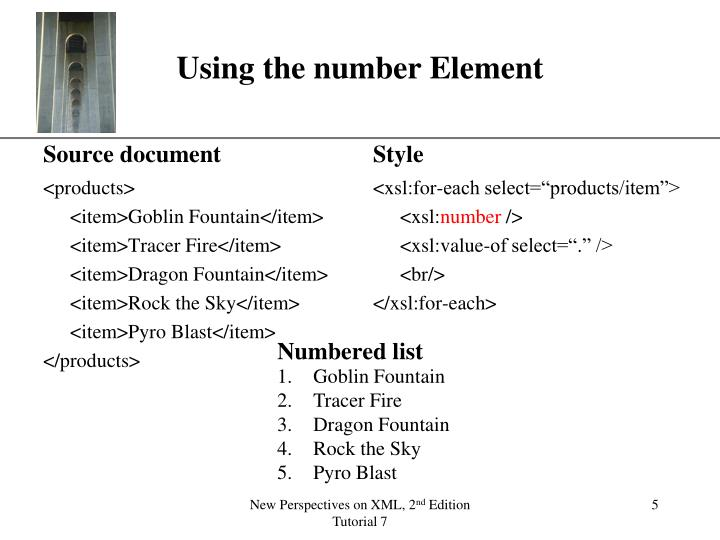 Using the number Element
