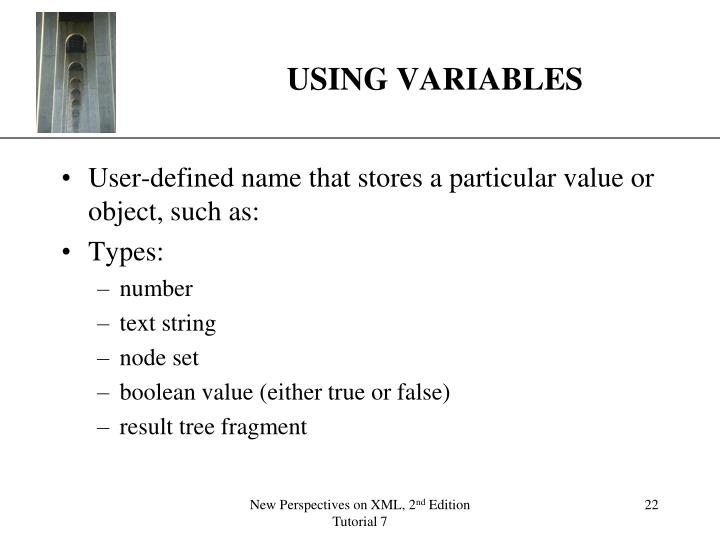 USING VARIABLES