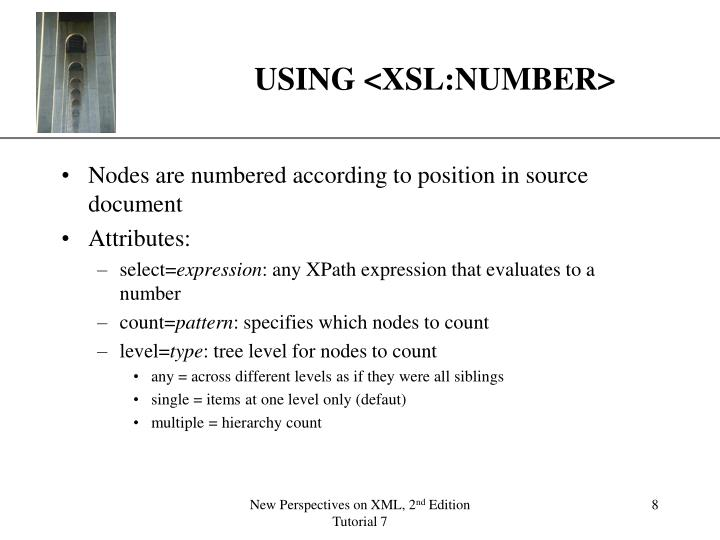 USING <XSL:NUMBER>