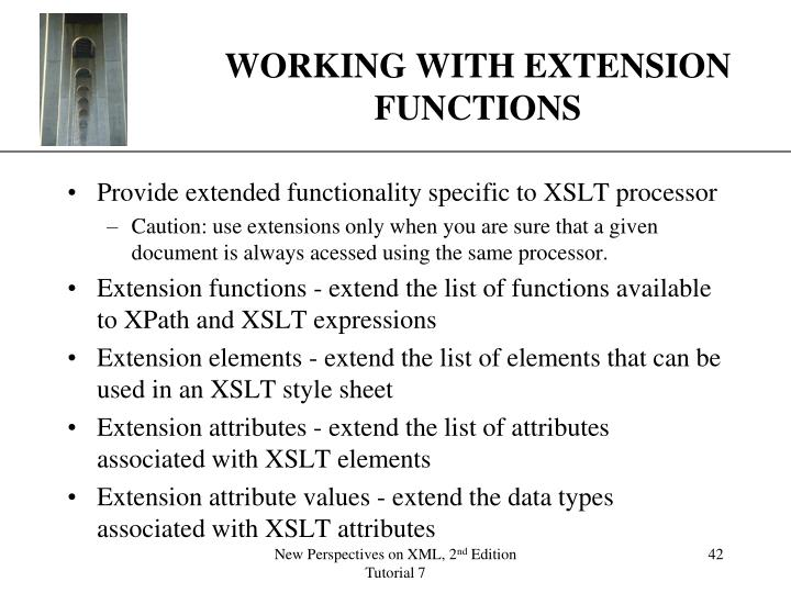 WORKING WITH EXTENSION FUNCTIONS