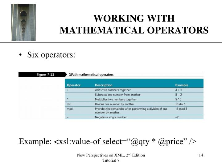 WORKING WITH MATHEMATICAL OPERATORS