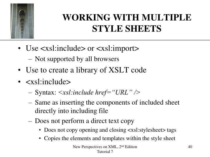 WORKING WITH MULTIPLE STYLE SHEETS
