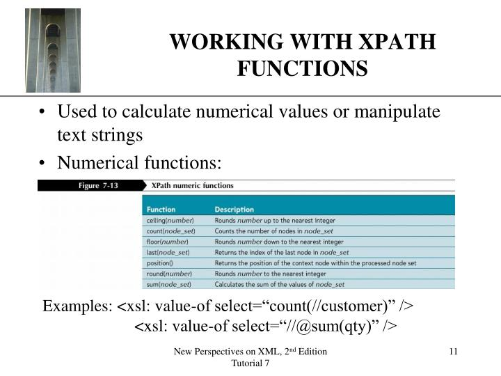 WORKING WITH XPATH FUNCTIONS