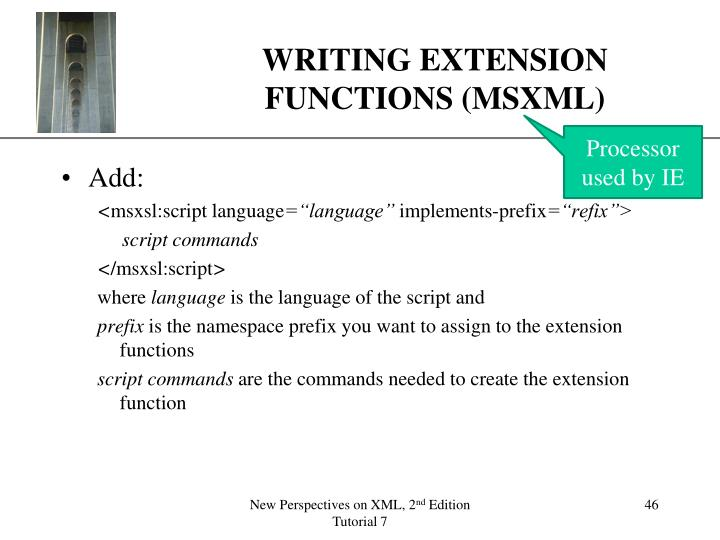 WRITING EXTENSION FUNCTIONS (MSXML)