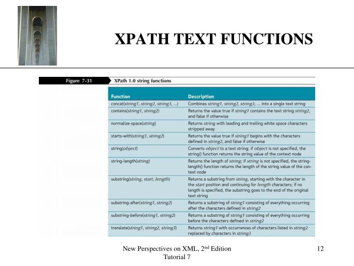 XPATH TEXT FUNCTIONS