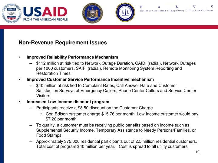 Non-Revenue Requirement Issues