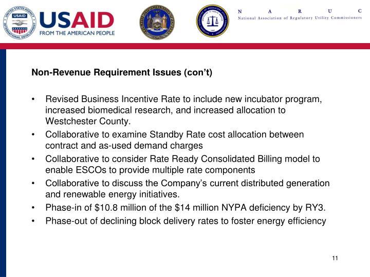 Non-Revenue Requirement Issues (