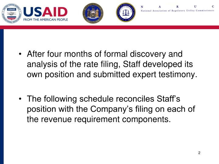 After four months of formal discovery and analysis of the rate filing, Staff developed its own position and submitted expert testimony.