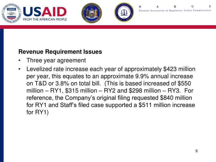 Revenue Requirement Issues