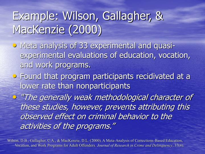 Example: Wilson, Gallagher, & MacKenzie (2000)