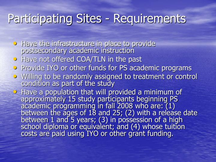 Participating Sites - Requirements