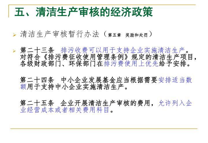 五、清洁生产审核的经济政策