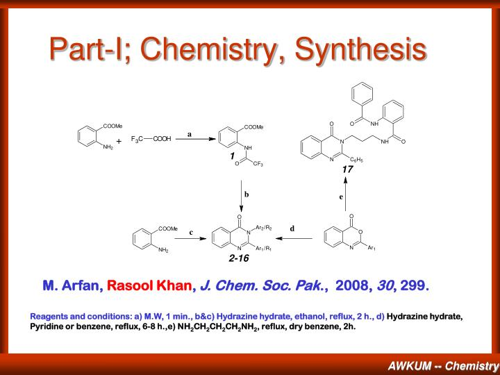 Part-I; Chemistry, Synthesis